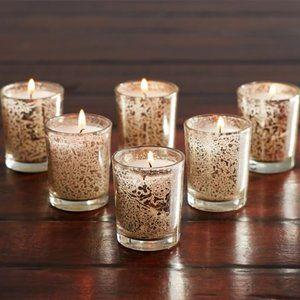 Mercury Glass Votive Holder Candles Farmhouse